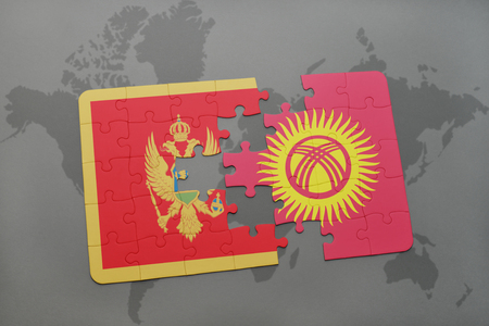 puzzle with the national flag of montenegro and kyrgyzstan on a world map background. 3D illustration Stock Photo