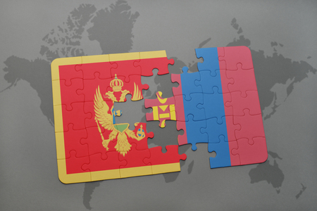 mongolia: puzzle with the national flag of montenegro and mongolia on a world map background. 3D illustration Stock Photo