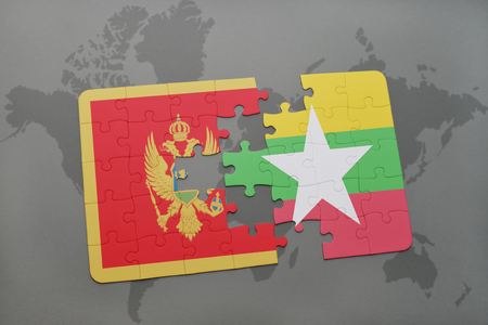 puzzle with the national flag of montenegro and myanmar on a world map background. 3D illustration