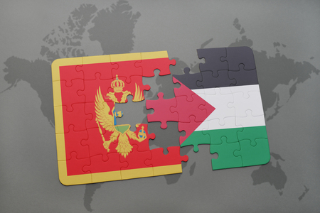 puzzle with the national flag of montenegro and palestine on a world map background. 3D illustration Stock Photo