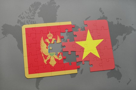 puzzle with the national flag of montenegro and vietnam on a world map background. 3D illustration Stock Photo