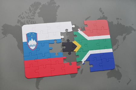 slovenian: puzzle with the national flag of slovenia and south africa on a world map background. 3D illustration