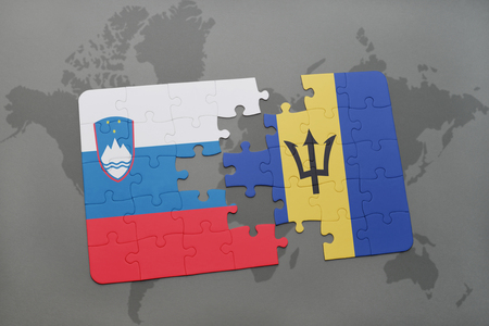 puzzle with the national flag of slovenia and barbados on a world map background. 3D illustration