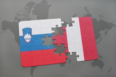 puzzle with the national flag of slovenia and peru on a world map background. 3D illustration Stok Fotoğraf