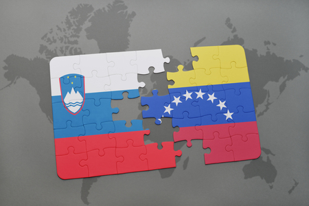 puzzle with the national flag of slovenia and venezuela on a world map background. 3D illustration