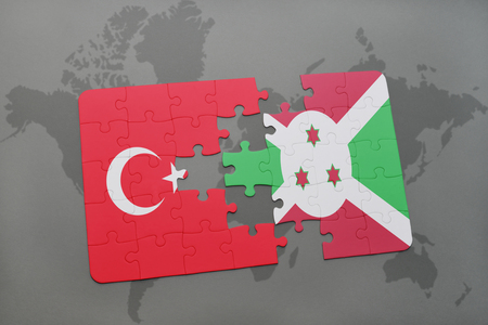 puzzle with the national flag of turkey and burundi on a world map background. 3D illustration