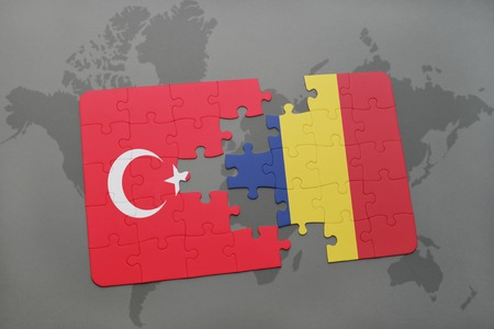 puzzle with the national flag of turkey and chad on a world map background. 3D illustration Stock Photo
