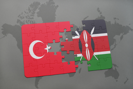 puzzle with the national flag of turkey and kenya on a world map background. 3D illustration