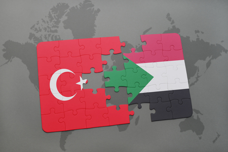 puzzle with the national flag of turkey and sudan on a world map background. 3D illustration Stock Photo