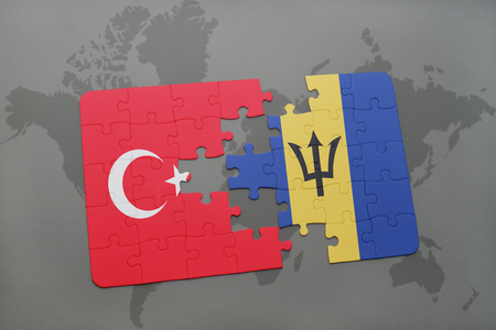 puzzle with the national flag of turkey and barbados on a world map background. 3D illustration