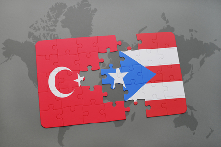 puzzle with the national flag of turkey and puerto rico on a world map background. 3D illustration