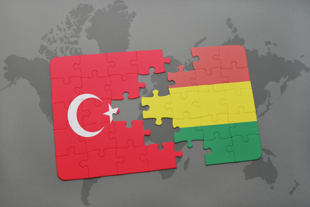 puzzle with the national flag of turkey and bolivia on a world map background. 3D illustration Banco de Imagens