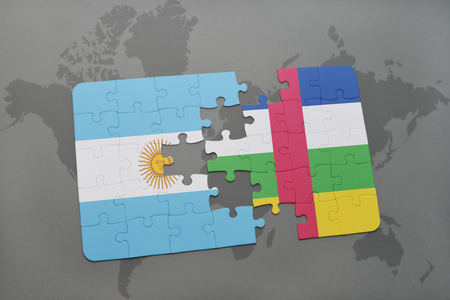 puzzle with the national flag of argentina and central african republic on a world map background. 3D illustration Stock Photo