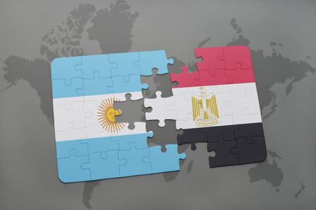 aires: puzzle with the national flag of argentina and egypt on a world map background. 3D illustration