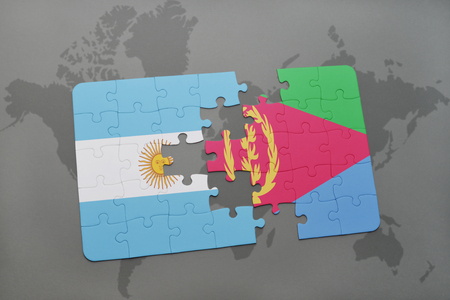 puzzle with the national flag of argentina and eritrea on a world map background. 3D illustration