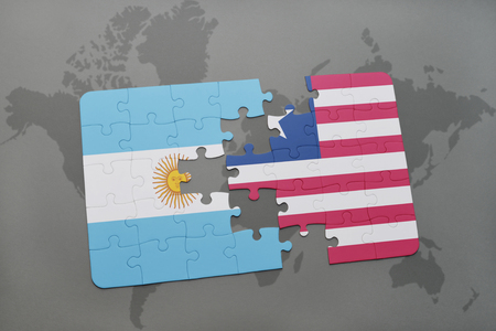 puzzle with the national flag of argentina and liberia on a world map background. 3D illustration
