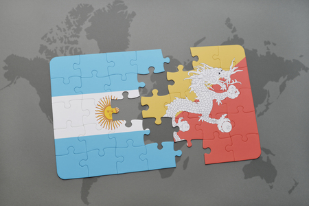 aires: puzzle with the national flag of argentina and bhutan on a world map background. 3D illustration