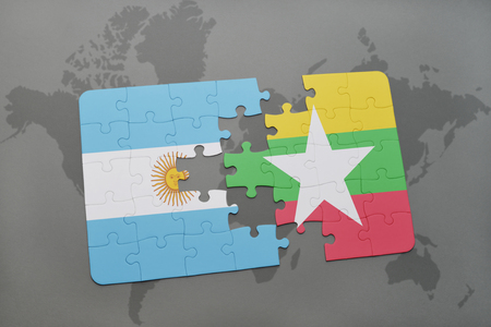 aires: puzzle with the national flag of argentina and myanmar on a world map background. 3D illustration