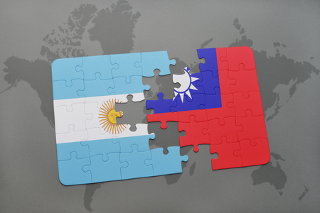 aires: puzzle with the national flag of argentina and taiwan on a world map background. 3D illustration