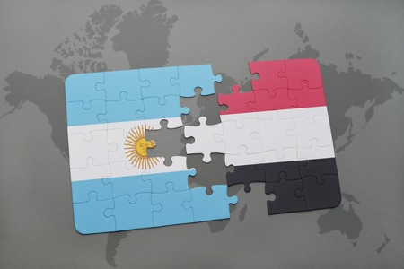 aires: puzzle with the national flag of argentina and yemen on a world map background. 3D illustration