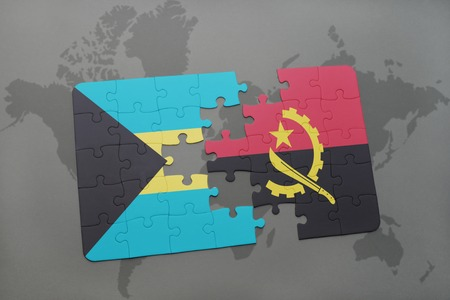 puzzle with the national flag of bahamas and angola on a world map background. 3D illustration