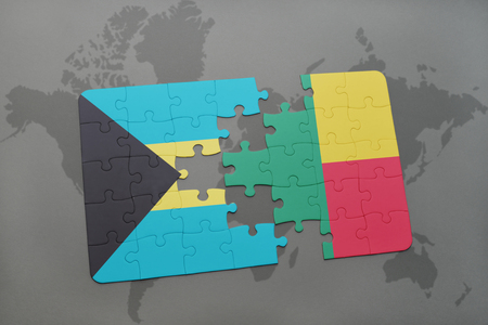 benin: puzzle with the national flag of bahamas and benin on a world map background. 3D illustration