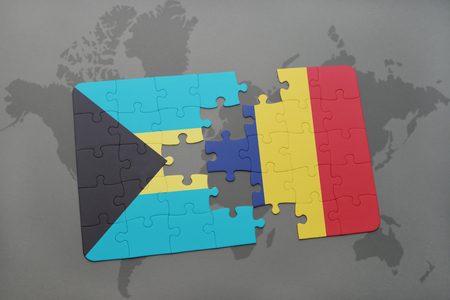 puzzle with the national flag of bahamas and chad on a world map background. 3D illustration Stock Photo