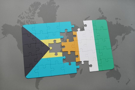 puzzle with the national flag of bahamas and cote divoire on a world map background. 3D illustration