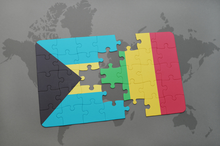 puzzle with the national flag of bahamas and mali on a world map background. 3D illustration