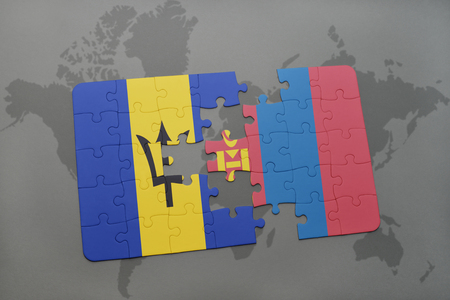 puzzle with the national flag of barbados and mongolia on a world map background. 3D illustration