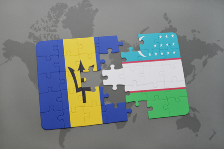 puzzle with the national flag of barbados and uzbekistan on a world map background. 3D illustration Stock Photo