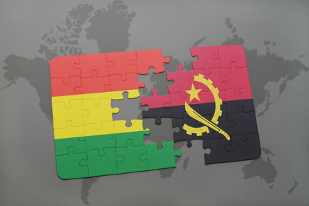 puzzle with the national flag of bolivia and angola on a world map background. 3D illustration Banco de Imagens