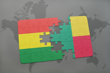 puzzle with the national flag of bolivia and benin on a world map background. 3D illustration