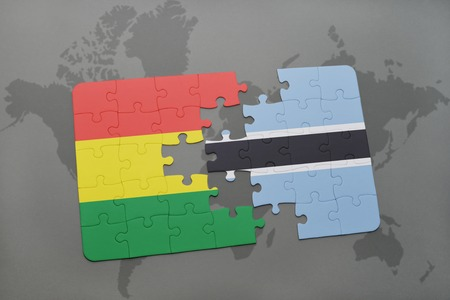 puzzle with the national flag of bolivia and botswana on a world map background. 3D illustration