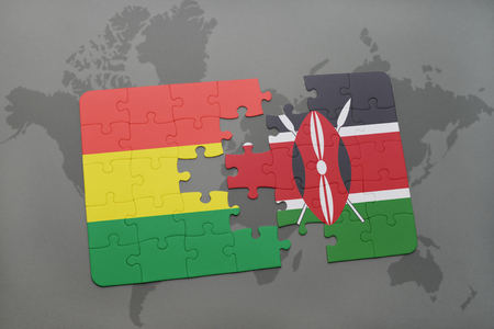 puzzle with the national flag of bolivia and kenya on a world map background. 3D illustration