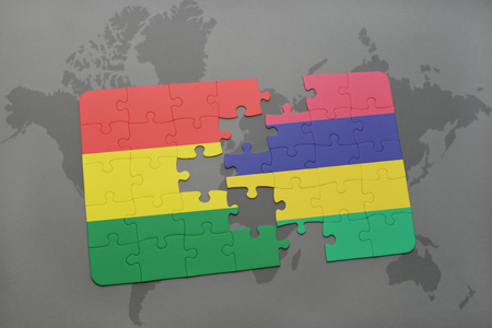 puzzle with the national flag of bolivia and mauritius on a world map background. 3D illustration