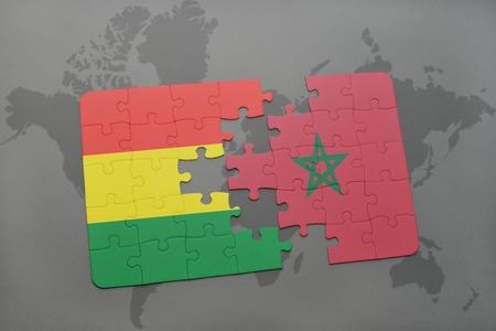 puzzle with the national flag of bolivia and morocco on a world map background. 3D illustration Imagens - 76005886