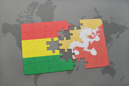 puzzle with the national flag of bolivia and bhutan on a world map background. 3D illustration