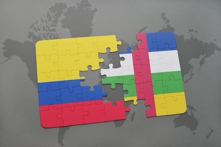 colombian: puzzle with the national flag of colombia and central african republic on a world map background. 3D illustration Stock Photo