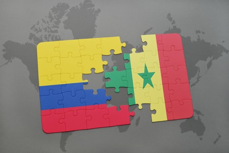 dakar: puzzle with the national flag of colombia and senegal on a world map background. 3D illustration Stock Photo
