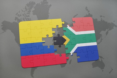 colombian: puzzle with the national flag of colombia and south africa on a world map background. 3D illustration