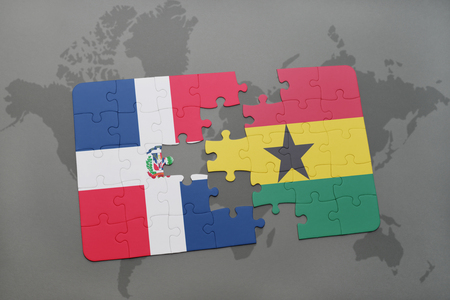 puzzle with the national flag of dominican republic and ghana on a world map background. 3D illustration Banco de Imagens