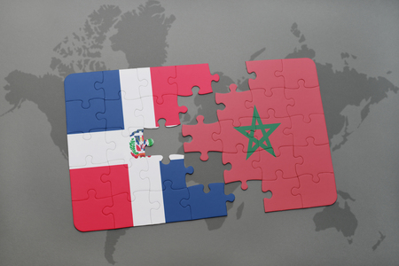 puzzle with the national flag of dominican republic and morocco on a world map background. 3D illustration Banco de Imagens