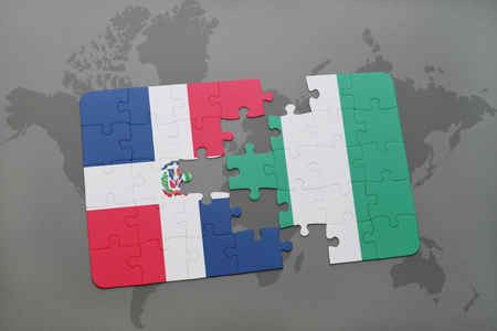 puzzle with the national flag of dominican republic and nigeria on a world map background. 3D illustration