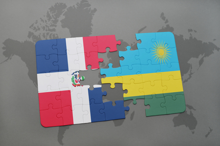 puzzle with the national flag of dominican republic and rwanda on a world map background. 3D illustration Banco de Imagens