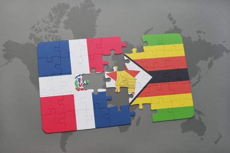 puzzle with the national flag of dominican republic and zimbabwe on a world map background. 3D illustration Banco de Imagens