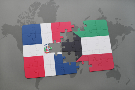 puzzle with the national flag of dominican republic and kuwait on a world map background. 3D illustration Stock Photo