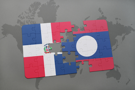 dominican: puzzle with the national flag of dominican republic and laos on a world map background. 3D illustration