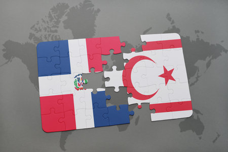 puzzle with the national flag of dominican republic and northern cyprus on a world map background. 3D illustration