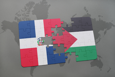 dominican: puzzle with the national flag of dominican republic and palestine on a world map background. 3D illustration Stock Photo